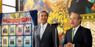 El director general de la Loterína, Benjamín González Roaro y el gobernador de Puebla, Rafael Moreno Valle.