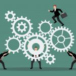 44299114 - business teamwork with mechanism system. vector illustration